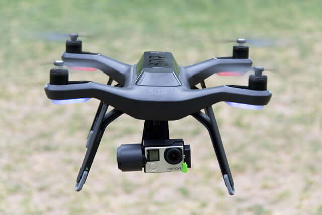 Black 3dr Solo drone with camera on it