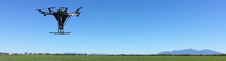 Advanced agriculture drone above a field