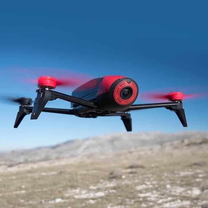 Red Parrot Drone Flying Over The Desert