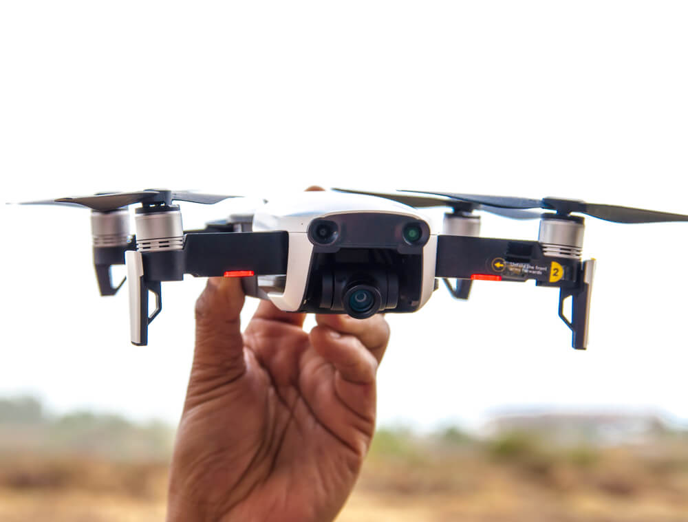 DJI Mavic Air Holding by Hand White Color