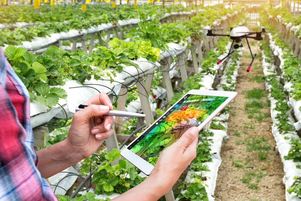 Agriculture tablet app with drones