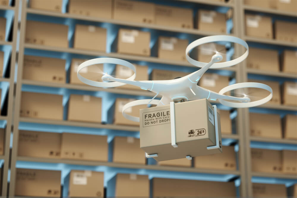 Drone in a warehouse moving packages