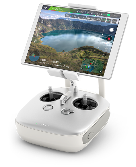 DJI-Inspire 1 White Remote with the app on the screen